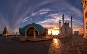 Картинка небо, закат, здания, площадь, Казань, Татарстан