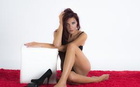 Картинка legs, model, redhead, look, pose, heels, Luigi Malanetto