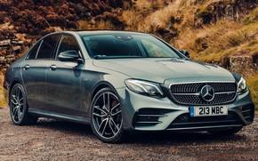 Картинка песок, car, машина, природа, серый, Mercedes-Benz, Мерседес, Mercedes, седан, сбоку, AMG, E53, E53 AMG, Mercedes-Benz …