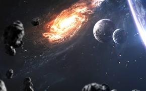 Картинка Планета, Космос, Свет, Планеты, Light, Planets, Арт, Space, Art, Спутник, Planet, Galaxy, Дыра, Астероиды, Beyond, …