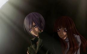 Картинка девушка, тень, парень, Vampire Knight, Рыцарь-вампир