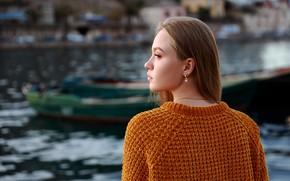 Картинка девушка, лицо, спина, профиль, свитер, Денис Ланкин, Ксения Глазко