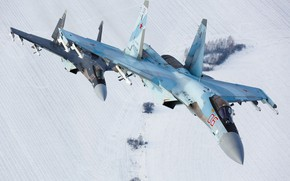 Обои полет, истребитель, пара, Су-35С, сверхманевренный, ОКБ Сухого