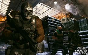Картинка оружие, люди, череп, мужик, маска, солдат, Call of Duty, Call of Duty: Modern Warfare