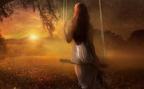 Картинка длинноволосая, цветы, рендеринг, небо, фотоарт, букет, дерево, вечер, спина, девушка, рыжеволосая, лето, солнце, сидит, ветки, …