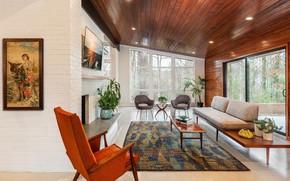 Картинка дизайн, интерьер, камин, гостиная, mid-century modern