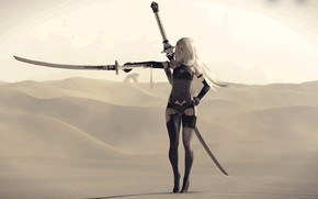 Картинка девушка, пустыня, меч, катана, киборг, Nier Automata