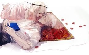 Картинка романтика, лепестки, книга, коврик, влюбленные, двое, парочка, венок, белые волосы, на спине, белая рубашка, почти …