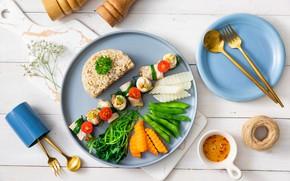Картинка ложка, рис, вилка, овощи, помидор, морковь, ассорти, фасоль