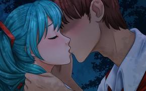 Картинка девушка, романтика, поцелуй, арт, пара, парень, двое, Вокалоид, Хатсуне Мику