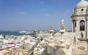 Картинка море, собор, архитектура, Испания, Кадис, Кафедральный собор Святого Креста