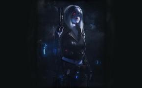 Обои Девушка, Пистолет, Dark, Арт, Art, Киборг, Киберпанк, Cyberpunk