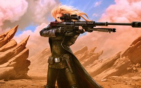 Картинка girl, fantasy, desert, weapon, Warrior, blonde, digital art, rifle, artwork, concept art, fantasy art, futuristic