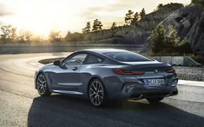Картинка дорога, купе, поворот, BMW, ограждение, Coupe, 2018, серо-синий, 8-Series, бледно-синий, M850i xDrive, 8er, G15