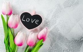 Картинка любовь, цветы, сердце, букет, тюльпаны, love, розовые, heart, pink, flowers, beautiful, romantic, tulips, valentine's day, …