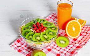 Картинка апельсин, киви, сок, фрукты, мюсли
