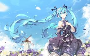 Картинка ветер, наушники, vocaloid, Hatsune Miku, вокалоид, голубые волосы, космеи, ветряная мельница, на фоне неба, летний …