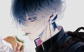 Картинка парень, школьная форма, гамбургер, ест