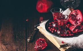 Картинка темный фон, стол, доски, книги, зерна, бокалы, сок, алкоголь, нож, коктейль, ткань, напиток, фрукты, натюрморт, …