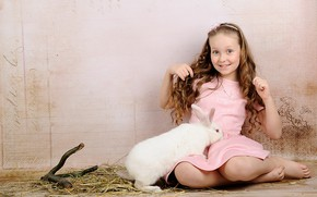 Картинка фон, кролик, девочка