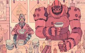 Картинка Девушка, Рисунок, Робот, Кофе, Fantasy, Art, Еда, Robot, Robots, Механизмы, Фантастика, Киборг, Cyberpunk, Обед, by …