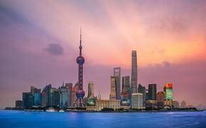 Картинка закат, океан, Китай, Shanghai, Шанхай