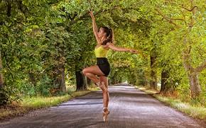 Картинка дорога, девушка, деревья, поза, балерина