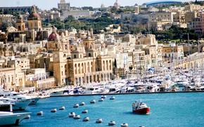 Картинка море, дома, яхты, катер, Мальта, Валетта