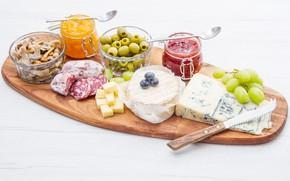 Картинка сыр, виноград, оливки, джем, нарезка, jam, разделочная доска, olives