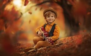 Картинка осень, природа, гитара, мальчик, листопад, ребёнок, Jansone Dace