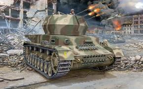 Картинка ЗСУ, Flakpanzer IV, германская зенитная самоходная установка, Wirbelwind