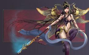 Картинка девушка, крылья, фея, копье