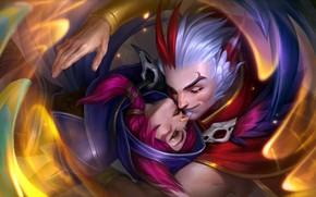 Картинка девушка, романтика, фэнтези, пара, существа, парень, двое, League of Legends