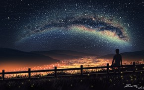 Картинка ночь, город, огни, силуэт, парень, млечный путь