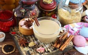Картинка чай, корица, специи, анис, масала