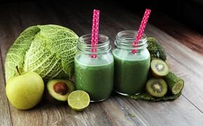 Картинка зелень, доски, яблоко, киви, огурец, сок, баночки, лайм, капуста, боке, трубочки, авокадо