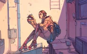 Картинка Девушка, Рисунок, Fantasy, Арт, Art, Еда, Robot, Robots, Фантастика, Киборг, Киберпанк, Cyberpunk, by Josan Gonzalez, …