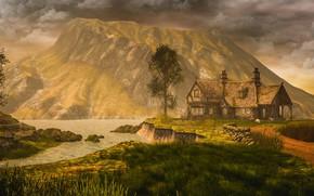 Картинка лето, небо, трава, облака, свет, пейзаж, закат, горы, тучи, природа, дом, река, камни, рендеринг, дерево, …