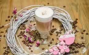 Картинка кофе, молоко, wood, декор, coffe, кофе в зёрнах