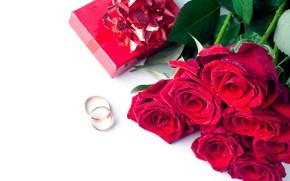 Картинка розы, кольца, красные, коробочка