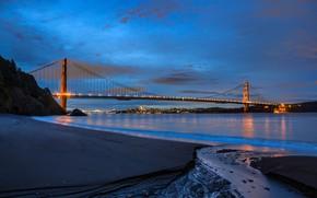 Картинка пейзаж, мост, огни, пролив, берег, вечер, Золотые ворота, Golden Gate Bridge, San Francisco, Сан - …