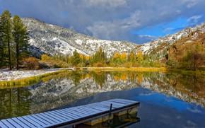 Картинка осень, деревья, горы, озеро, отражение, Вайоминг, Йеллоустоун, Wyoming, мостки, Йеллоустонский национальный парк, Yellowstone National Park