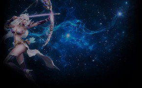 Картинка девушка, космос, лук, стрела, стрелец