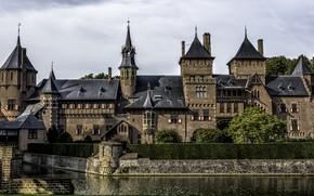 Обои замок, пруд, Castle De Haar, Нидерланды, Голландия