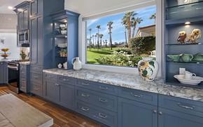 Картинка окно, кухня, шкафы