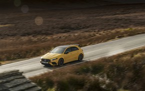Картинка дорога, Mercedes-Benz, скорость, AMG, хэтчбек, UK-spec, 2020, 4MATIC+, A45 S, Aerodynamic Package