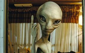 Картинка урод, инопланетянин, пришелец, ухмылка, большие глаза, Pol, палец вверх, Пол секретный материальчик