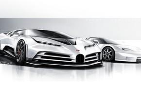 Картинка Дизайн, Рисунок, Bugatti, Гиперкар, Sportscar, 2020, Bugatti EB110, EB110, Centodieci, Bugatti Centodieci