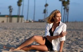 Картинка пляж, девушка, Малибу, Sergei Goncharov, Agatha Levi