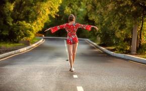 Картинка girl, road, dress, legs, trees, brown hair, photo, photographer, model, brunette, back, sandals, portrait, walking, …